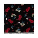 Swallow Roses 100% Digital Cotton Fabric Little Johnny Range 145cm Wide