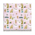 Cactus Lama Pink 100% Digital Cotton Fabric Little Johnny Range 145cm Wide