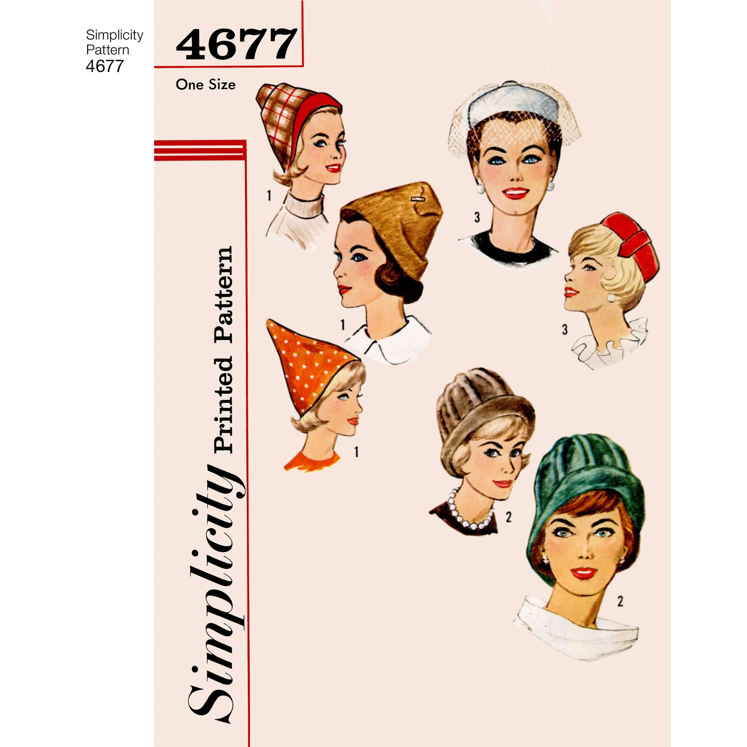 Simplicity 4677 Vintage 1960s Set Of Hats Wedding Fascinator Sewing Patterns