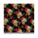 Skull Roses 100% Digital Cotton Fabric Little Johnny Range 145cm Wide