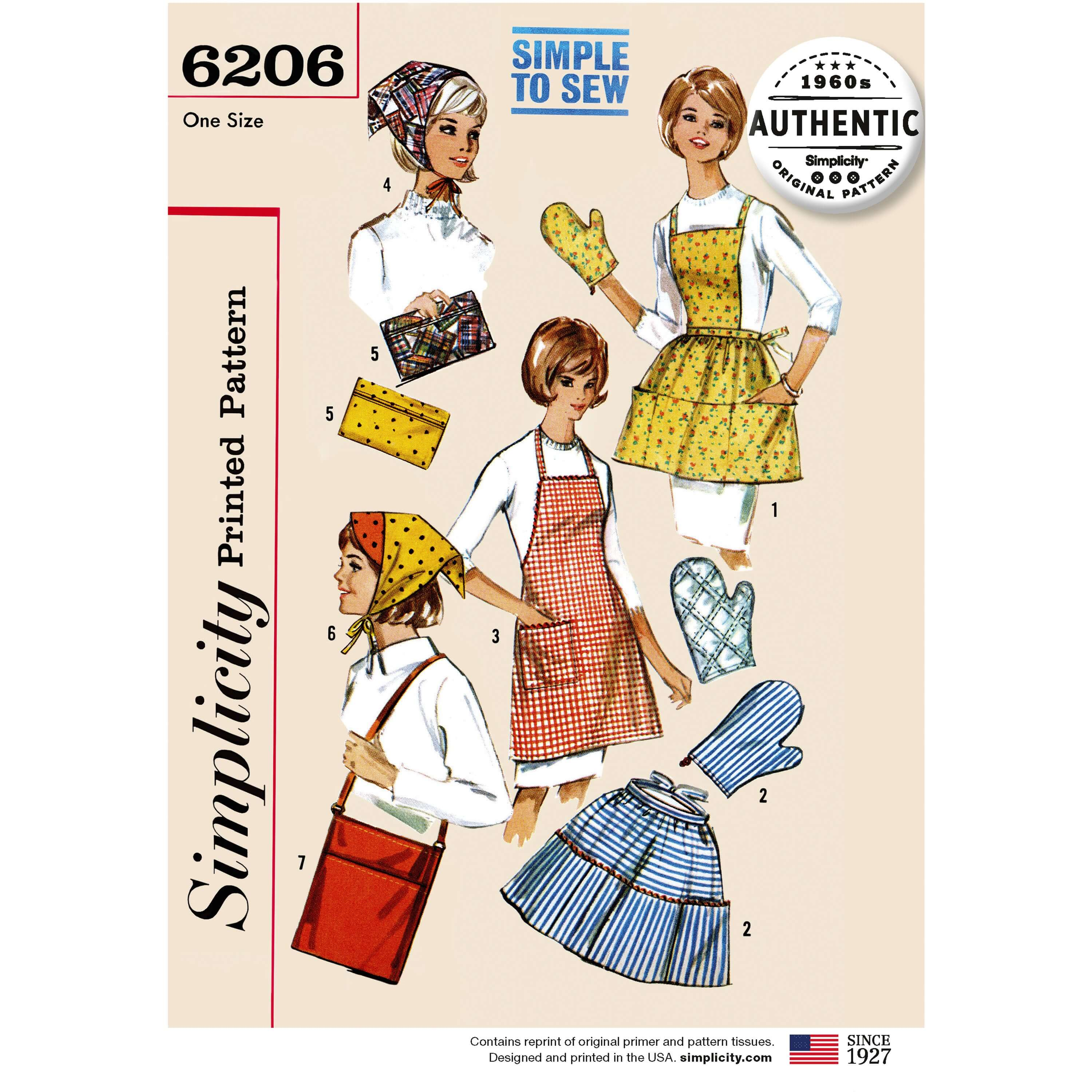 Simplicity 6207 Vintage 1960s Gift & Accessories Kitchen Apron Sewing Patterns