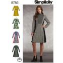Simplicity 8786 Misses Miss Petite Dress Mock Neck Dress Sewing Patterns