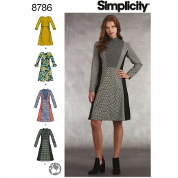 Simplicity 8786 Misses Miss Petite Dress Mock Neck Dress Sewing Patterns