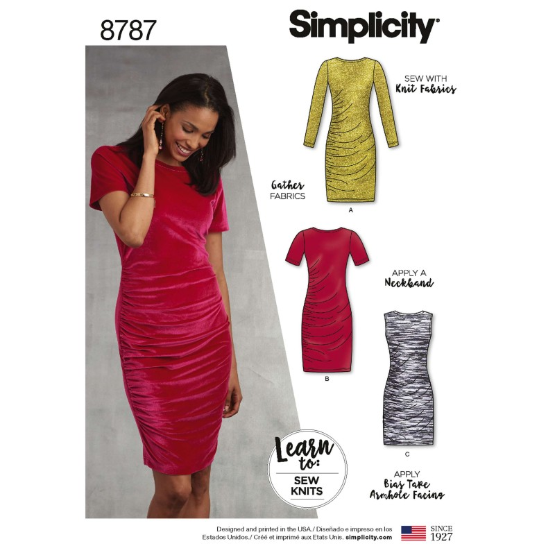 Simplicity 8787 Learn To Sew Knit Gathered Velour Jersey Size 6-18 Sewing Patterns