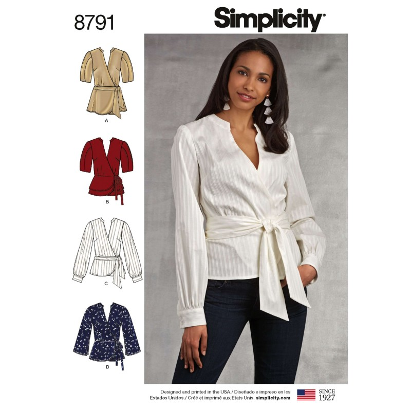 Simplicity 8791 Misses' Wrap Tops Sewing Pattern