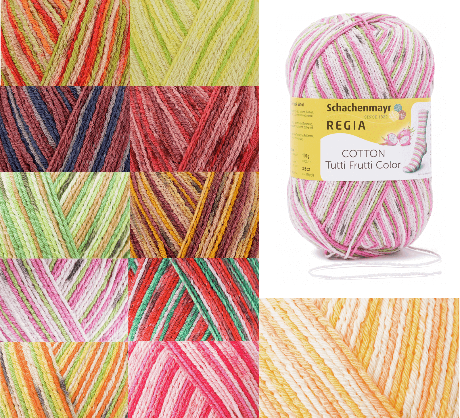 Regia Cotton Tutti Fruitti 4 PLY Knitting Crochet Knit Yarn Craft Wool 100g Ball 2426 Apple
