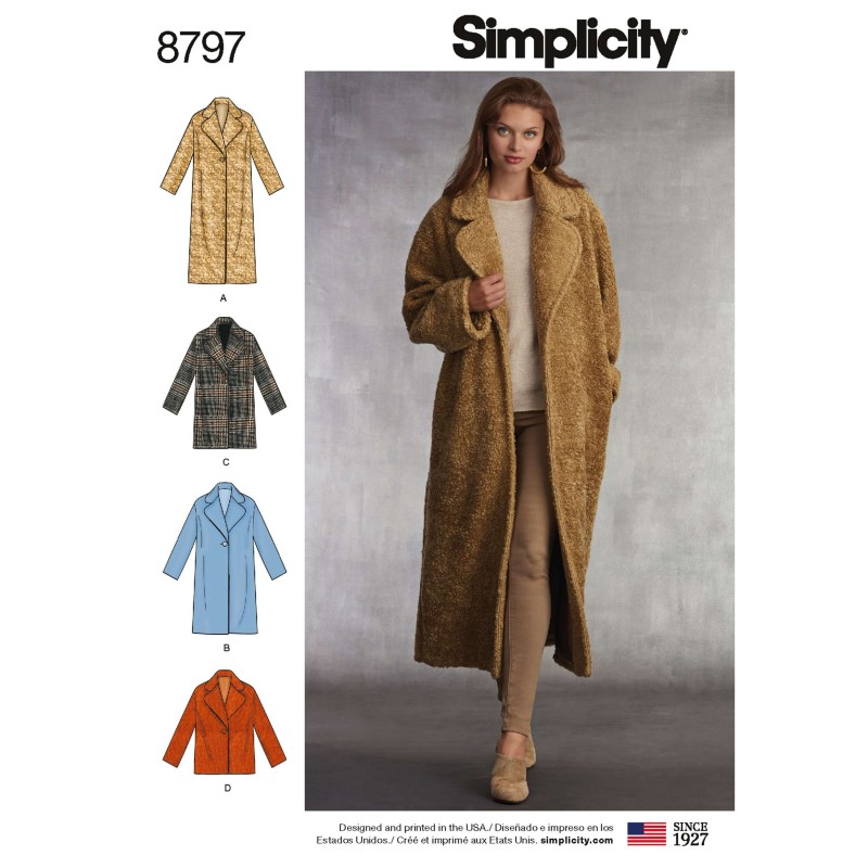 Simplicity 8797 Misses' Loose Fitting Coat With Lining Sewing Patterns