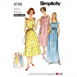 Simplicity 8799 Misses' Vintage Nightgowns Sewing Patterns