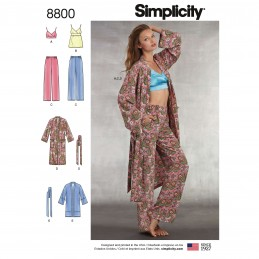 Simplicity 8800 Misses' Robe, Trousers & Bralette Sewing Patterns