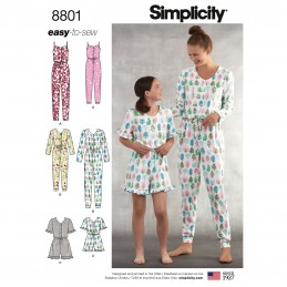 Simplicity 8801 Girls and Misses Knit Jumpsuit Romper Sewing Patterns