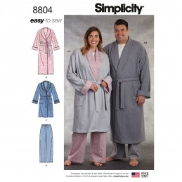 Simplicity 8804 Women's and Men's Robe and Trousers Sewing Pattern