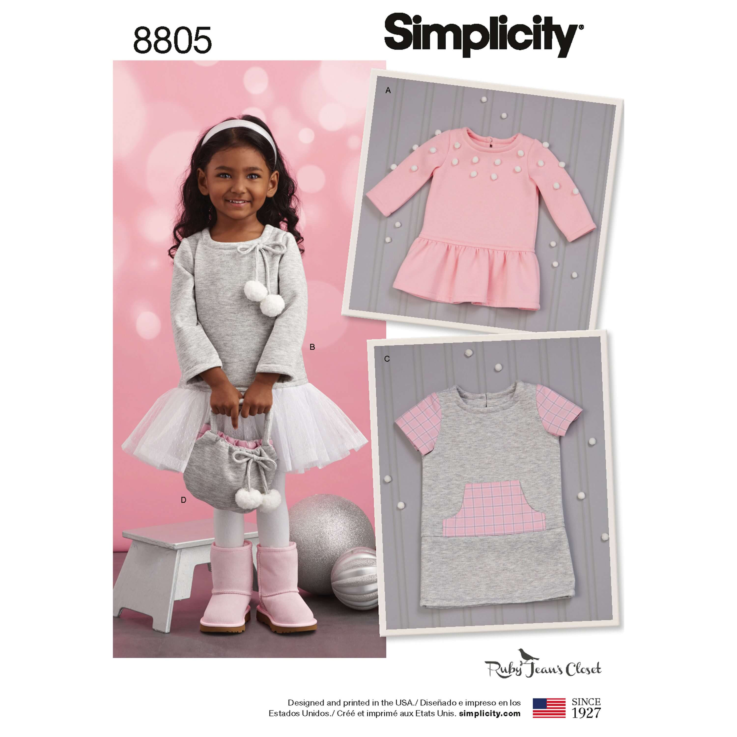 Simplicity 8805 Toddlers Ruby Jean Dress and Purse Sewing Pattern