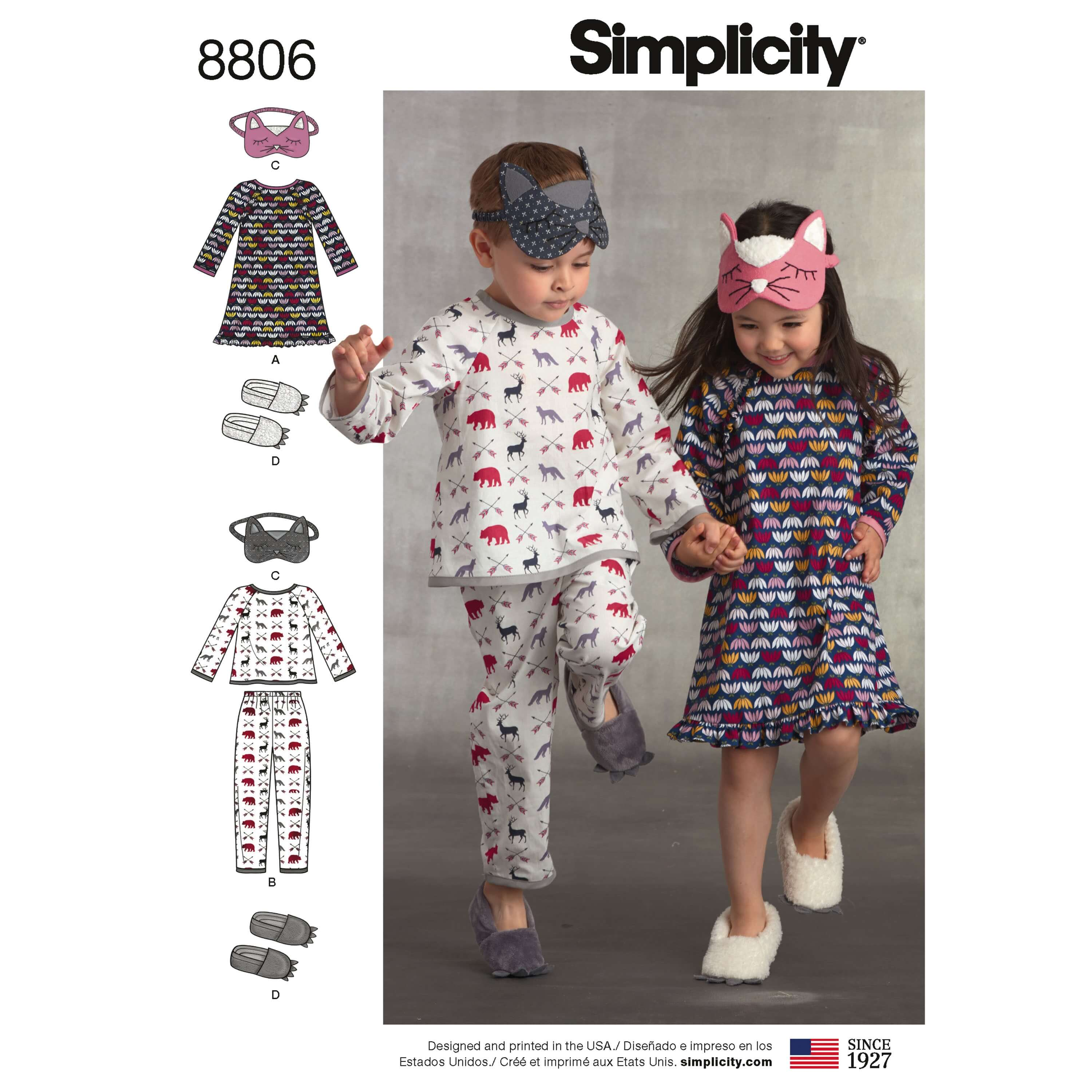 Simplicity 8806 Child Dress, Top, Trousers, Eye Mask and Slippers Sewing Pattern