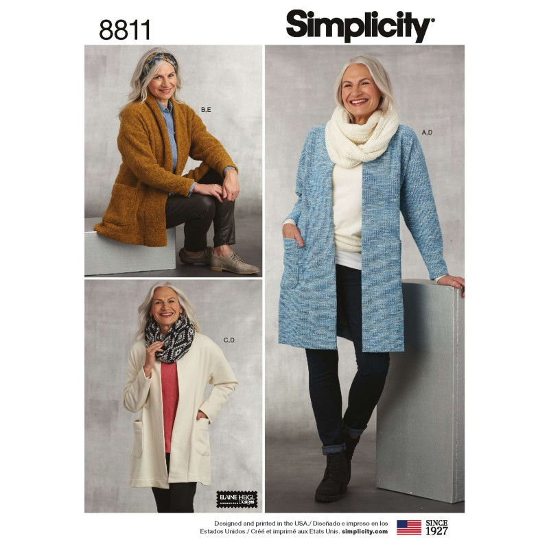 Simplicity 8811 Misses' Knit Sweater, Scarf and Headband Sewing Patterns