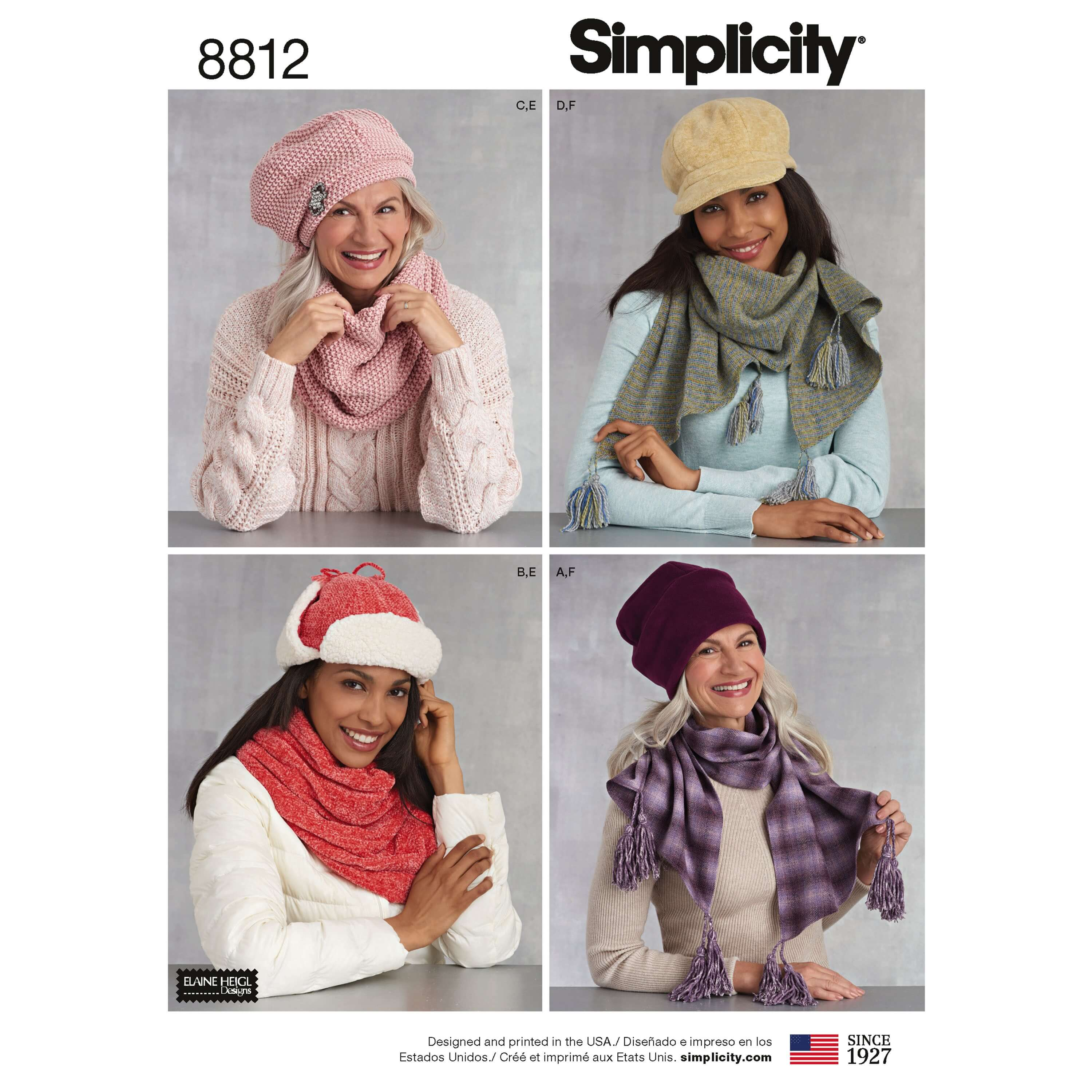 Simplicity 8812 Misses Cold Weather Accessories Sewing Patterns