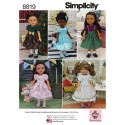 """Simplicity Pattern 8819 14"""" Doll Clothes Sewing Patterns"""