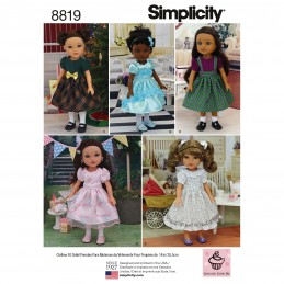 "Simplicity Pattern 8819 14"" Doll Clothes Sewing Patterns"