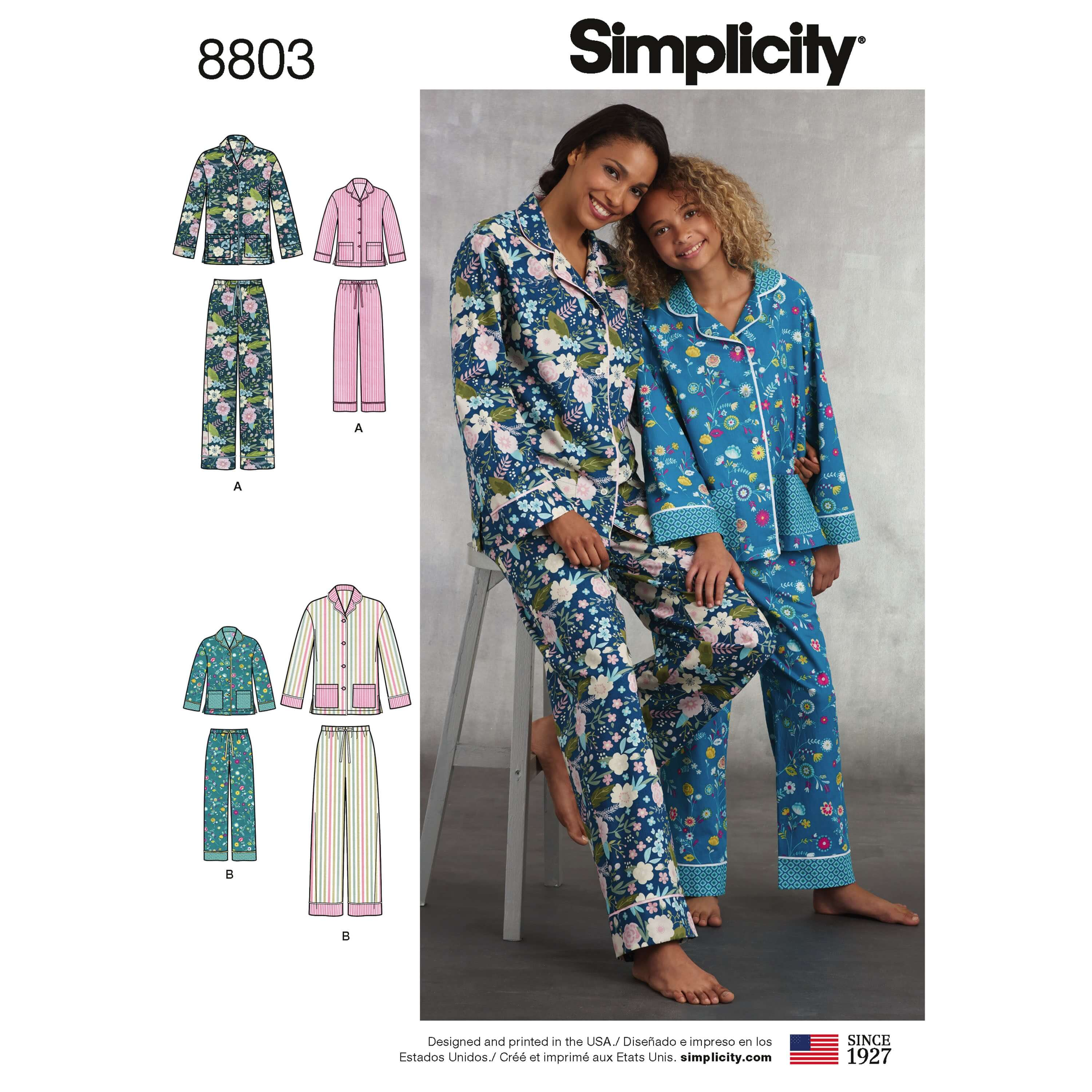 Simplicity 8803 Girls and Misses Set of Lounge Trousers and Shirt Sewing Pattern