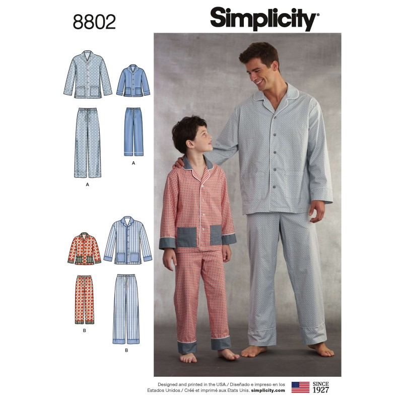 Simplicity 8802 Boys and Men's Set of Lounge Trousers and Shirt Sewing Pattern