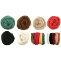 Assorted Browns Natural Wool Roving 50gm Craft Sewing Spinning Fabric