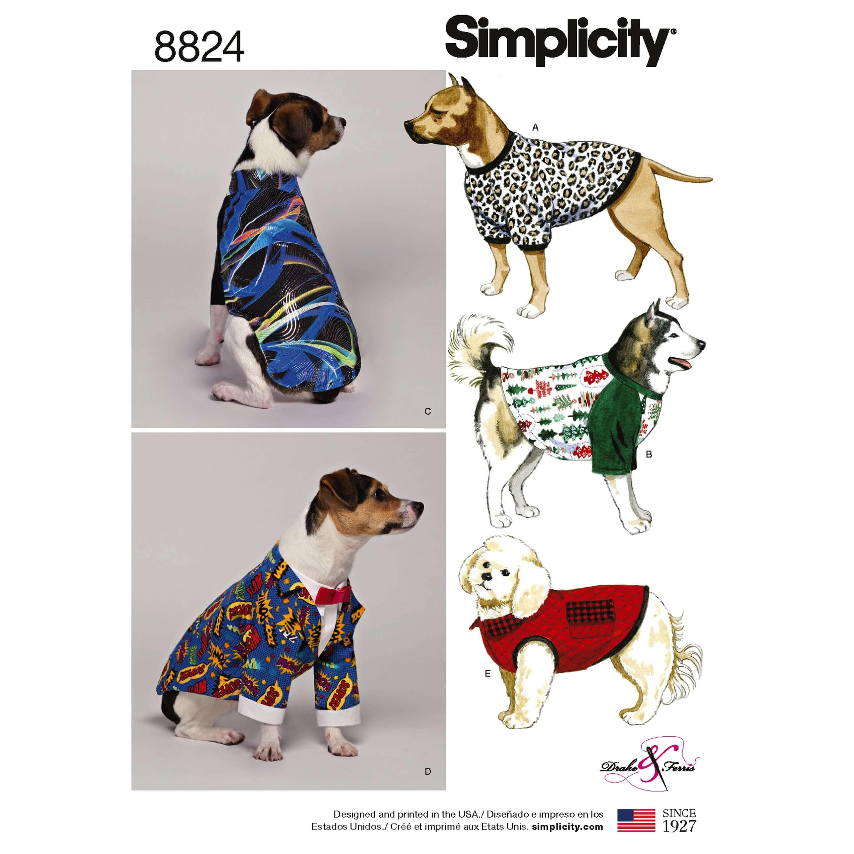 Simplicity Pattern 8824 Fashionable Dog Coats Puppy Sewing Patterns