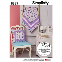 Simplicity Pattern 8823 Quilted Blanket & Pillow Upholstery Sewing Patterns