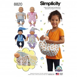 "Simplicity Pattern 8820 15"" Baby Doll Clothes Children Sewing Patterns"