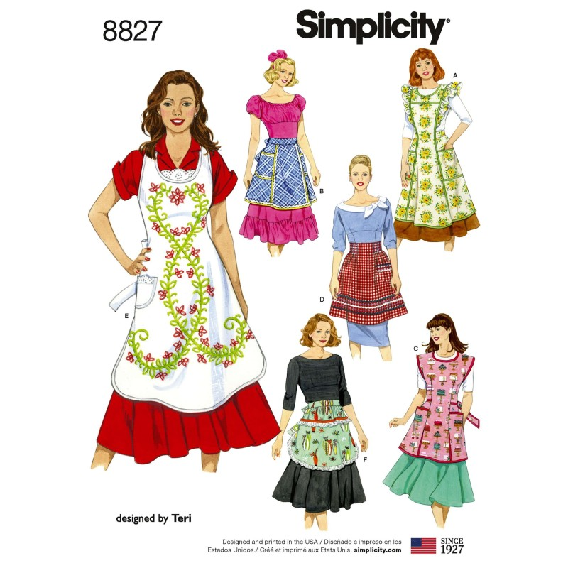 "Simplicity Pattern 8827 Misses"" Vintage Kitchen Apron Traditional Sewing Patterns"