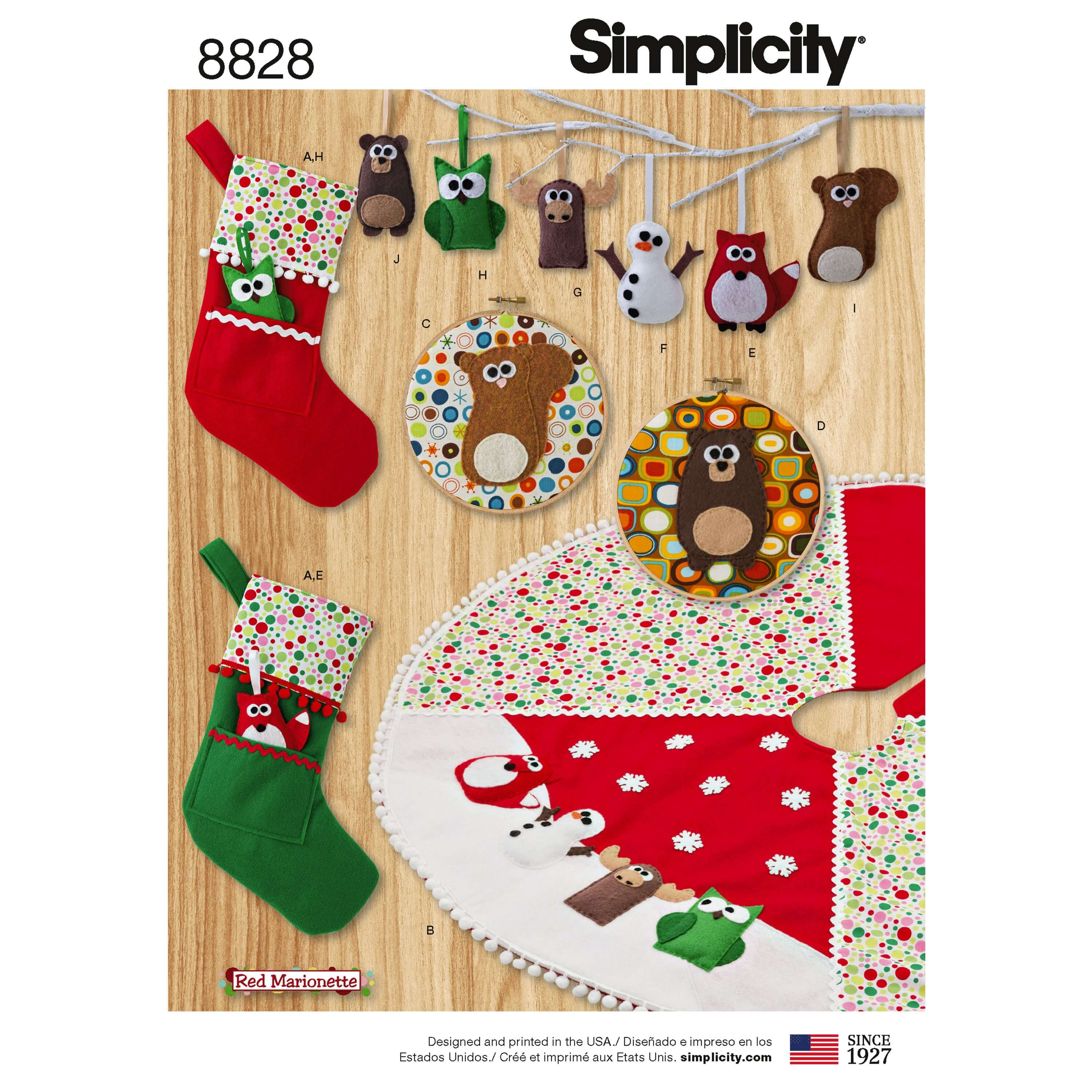 Simplicity Pattern 8828 Christmas Holiday Decorations Stocking Sewing Pattern
