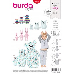 Burda Style Childrens Motif Cuddly Pillows Bear Rabbit Sewing Pattern 6303