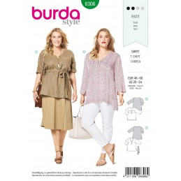 Burda Style Women's V Neck Top Blouse Shirt Casual Wear Sewing Pattern 6306