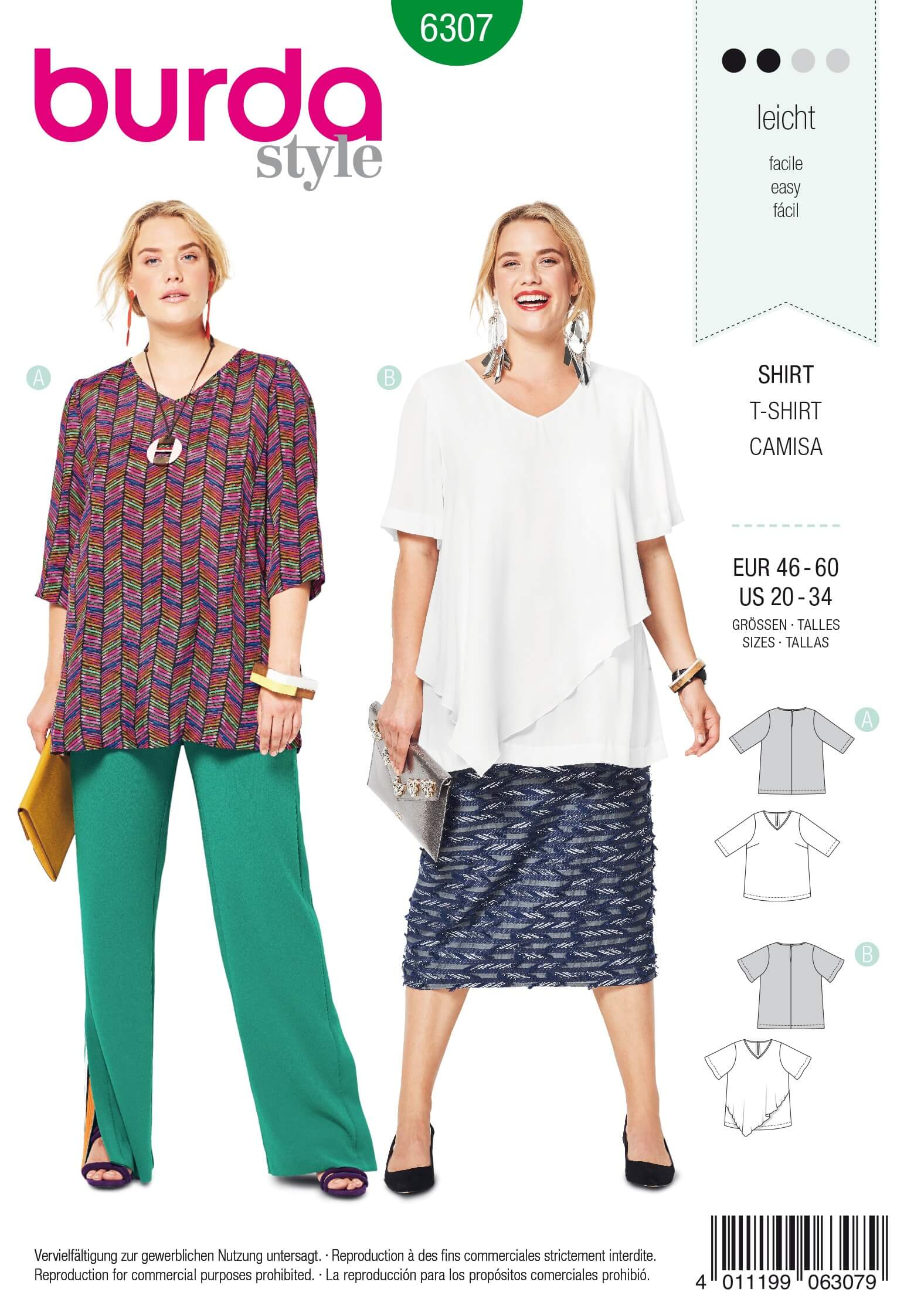Burda Style Women's Loose Fitting V Neck Top Casual Sewing Pattern 6307