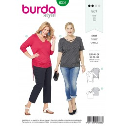 Burda Style Women's Gathered Side V Neck Top Casual Wear Sewing Pattern 6308