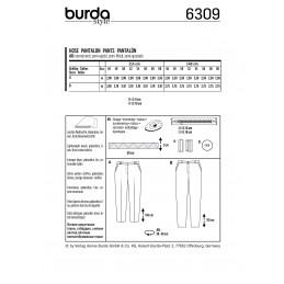 Burda Style Women's Trousers With Yoke Pockets Casual Wear Sewing Pattern 6309