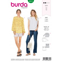 Burda Style Misses' Babydoll Top Blouse Casual Wear Sewing Pattern 6313