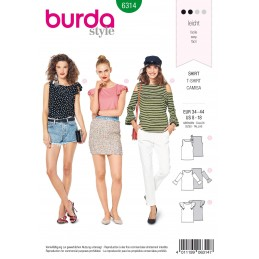 Burda Style Misses' Top With Sleeve Frills Casual Wear Sewing Pattern 6314