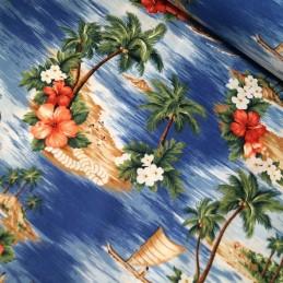 Blue 100% Cotton Poplin Fabric Rose & Hubble Hawaiian Island Tropical Floral Flower