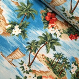 Turquoise 100% Cotton Poplin Fabric Rose & Hubble Hawaiian Island Tropical Floral Flower