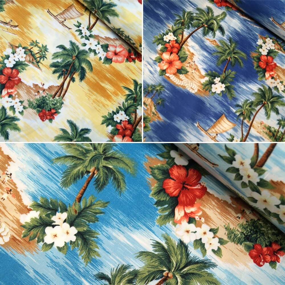 Blue 100% Cotton Poplin Fabric Rose & Hubble Hawaiian Island Tropical Floral Flower