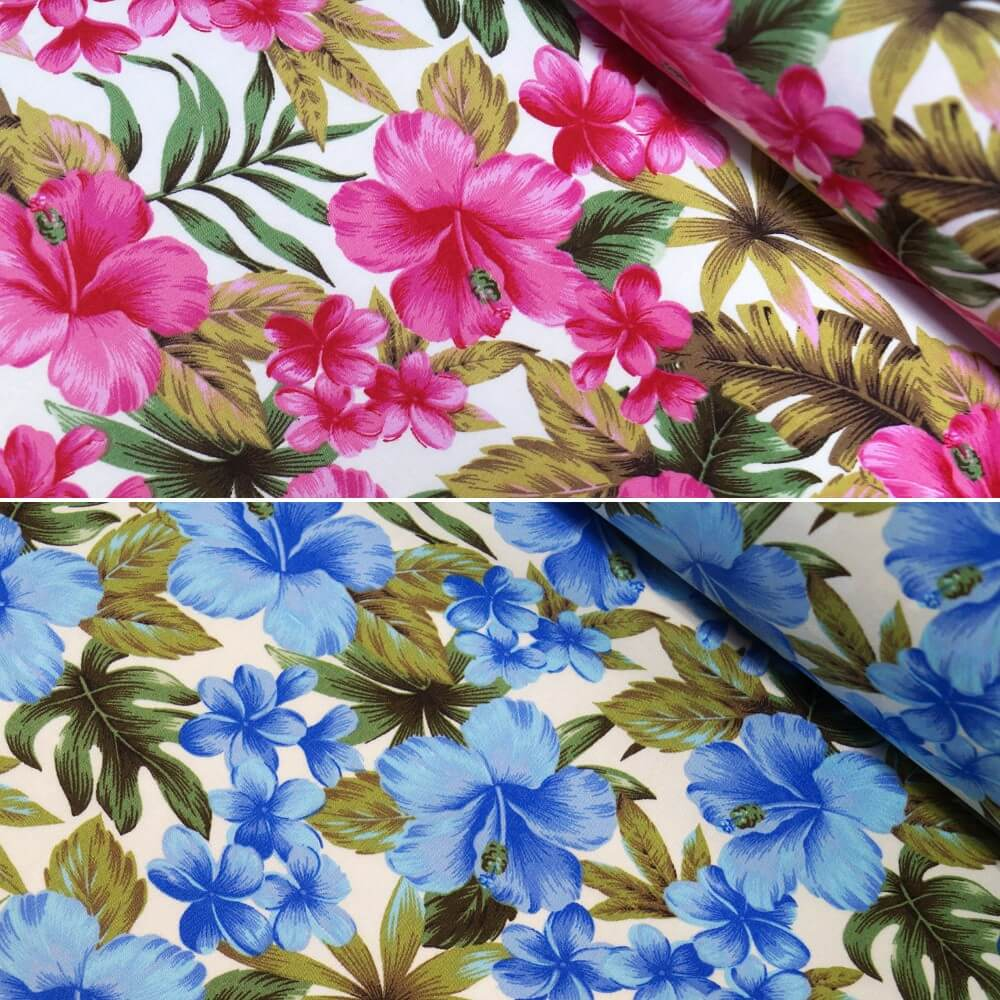 Blue/ Ivory 100% Cotton Poplin Fabric Rose & Hubble Tropical Island Hibiscus Floral Flower