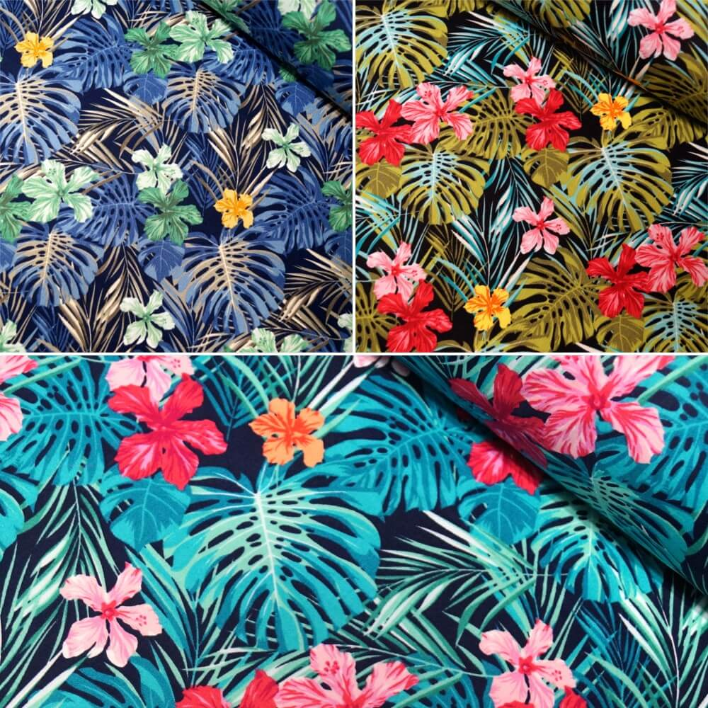 Black 100% Cotton Poplin Fabric Rose & Hubble Tropical Leaves Flowers Floral