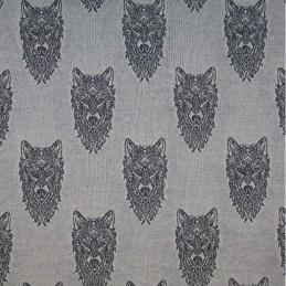 Cotton Elastane Jersey Stretch Fabric Wolf Wolves Knit Animals Wild Marl Grey