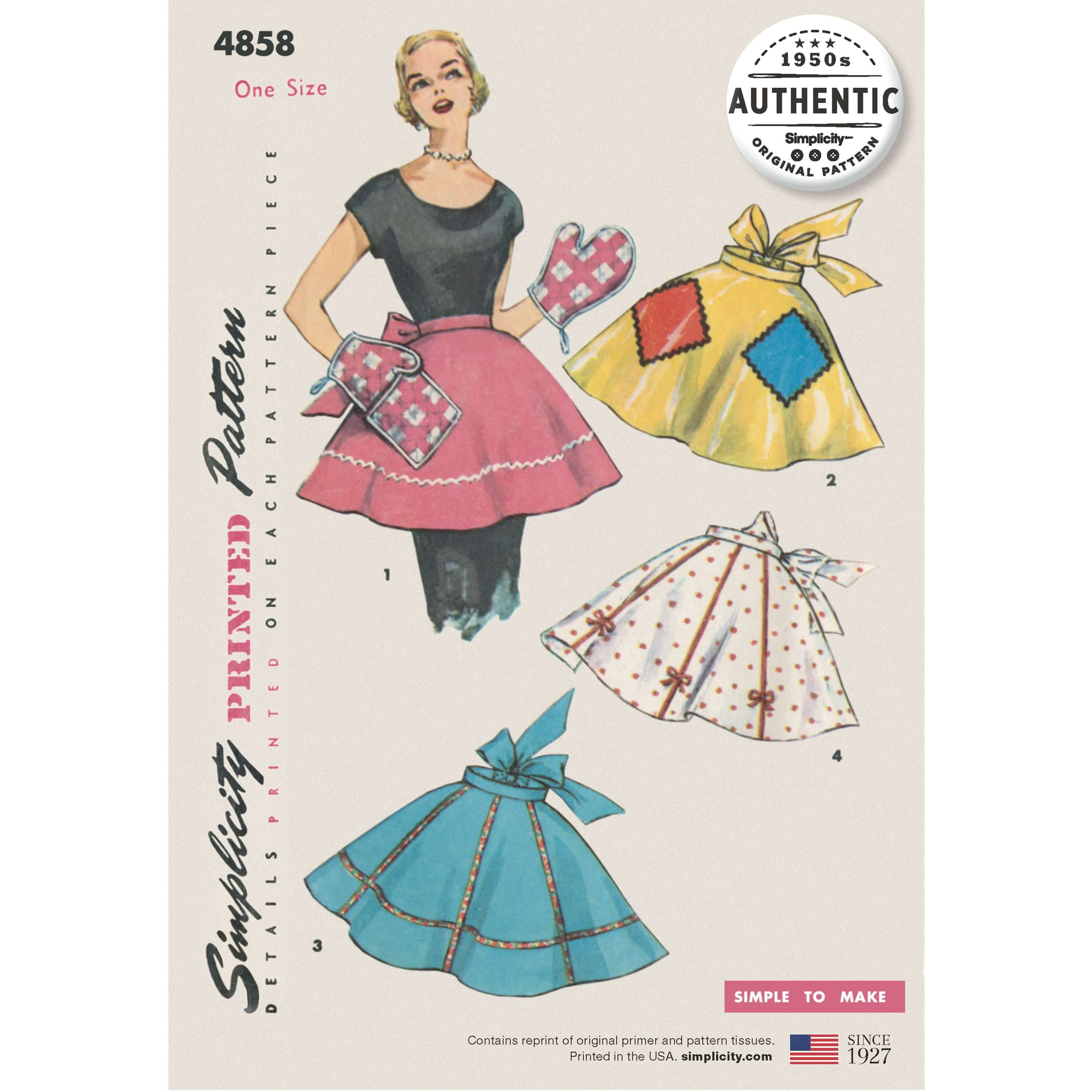 Simplicity Pattern 4858 One Size Vintage Apron Plus Mitts 1960s