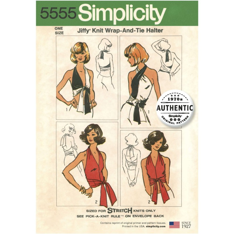 Simplicity Sewing Pattern 5555 Misses Vintage Jiffy Knit Wrap & Tie Halterneck Top 50s
