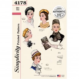 Simplicity Pattern 4178 Women's 60s Vintage Hats & Accessories Sewing Pattern