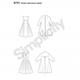 Simplicity Pattern 8731 Vintage Dress and Lined Coat Sewing Pattern