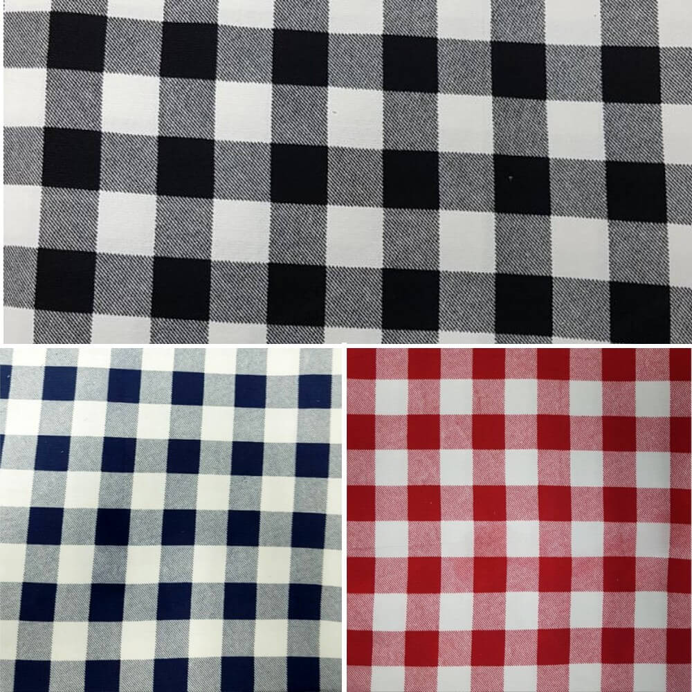 "Navy 100% Cotton Corduroy Fabric 1"" Gingham Check Squares"