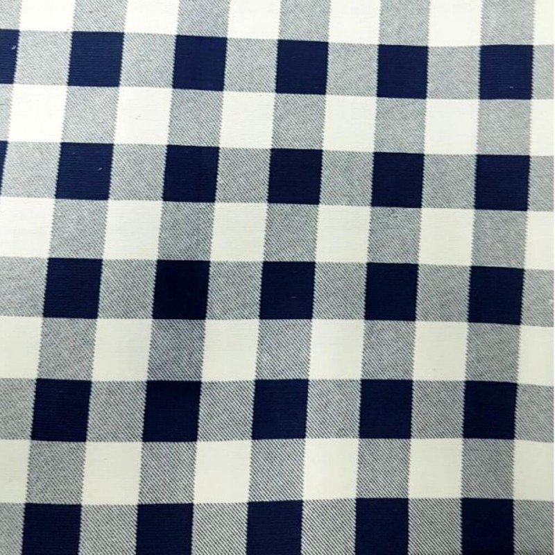 """Navy 100% Cotton Corduroy Fabric 1"""" Gingham Check Squares"""