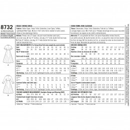 Simplicity Pattern 8732 Vintage High Waist Flare Skirt Dresses Sewing Pattern