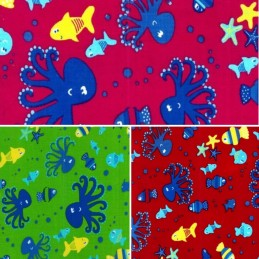 100% Cotton Corduroy Fabric Under The Sea Life Octopus Fish Starfish Water Cord